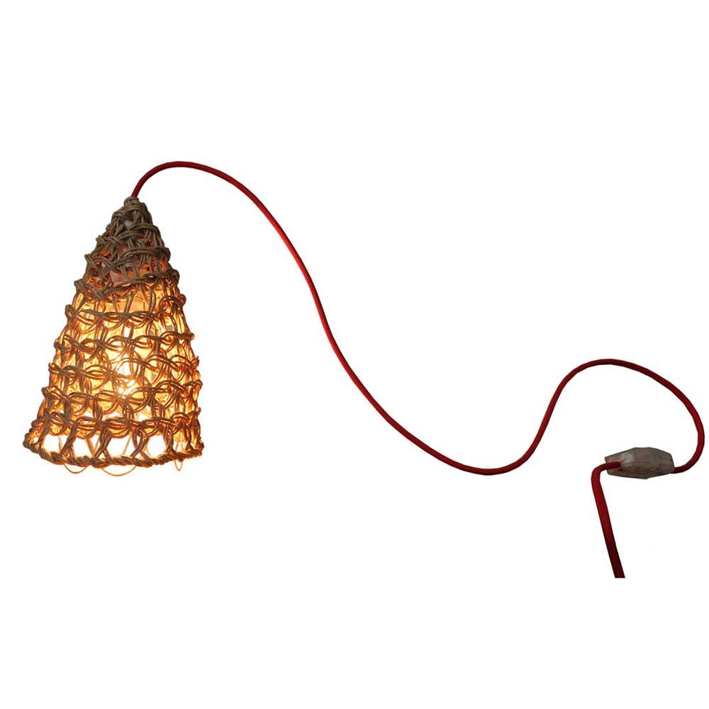 Petite Lampe Baladeuse En Filet Macrame Naturel