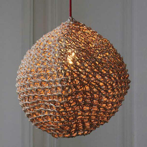 Lampe Baladeuse En Filet Macrame Naturel