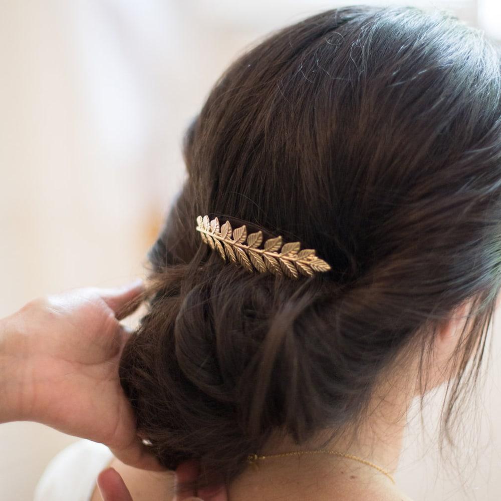 la meilleure attitude personnalisé style roman Accessoire de cheveux Peigne feuilles doré ou argenté