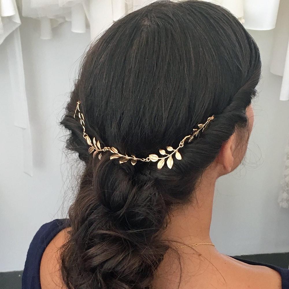 nouveau sommet photos officielles doux et léger Accessoire de cheveux bijou de chignon feuilles dorées