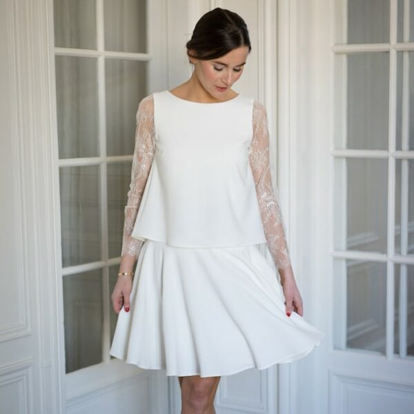 la moitié 6c2ad 46b38 Atelier Camille - Robe courte blanche Balthazar