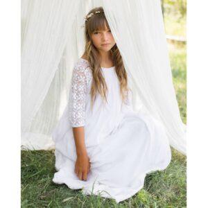 b011a2d38bf6f Robe longue fille Ava Les Petits Inclassables style bohème chic pour baptême
