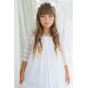 3e86000b382be cortège Robe longue fille Ava Les Petits Inclassables style bohème chic  pour baptême